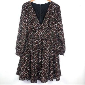 Torrid Floral Long Sleeve A-Line Dress Black